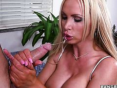 Nikki Benz with bubbly booty is in heaven blowing guys rock solid schlong