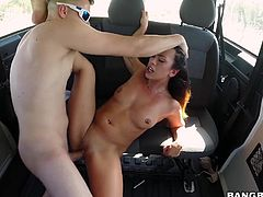 Eve has always loved fucking in the car. Here she is now, all naked in the bang bus! The slutty babe with incredible ass pleases her random partner, by offering him the lovely view of her buttocks, while in the reverse cowgirl position. See her banged hard from behind and asking for more...