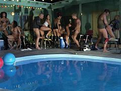 Dicks and tits everywhere! And I mean, everywhere! A bunch of pornstars gathered around for an orgy fest and they are going to go all out by the pool. Where to look