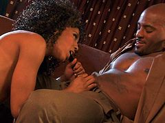 Leggy ebony porn star Misty Stone in golden high heels turns beefy black guy on to the point of no return and takes his fat dick in her many time used brown pussy. Misty Stone is dangerously horny!