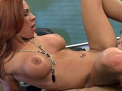 Sexy redheaded teacher Kirsten Price with perfect big boobs gets her nicely trimmed pierced pussy licked and banged by one hot guy in the classroom. Watch busty woman get shagged!