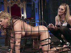 No one can escape so easily from Mona's fierce touch! The horny lesbian has prepared a real treat for her innocent-looking sex slave. The naked milf is dominated and has no way out, than fulfilling her mistress' lusty desires. Click to watch helpless Carissa, wearing kinky electrodes attached on her body parts...