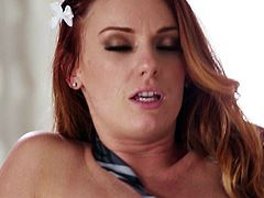 Topless redhead Dani Jensen in white stockings and panties gets her small tits rubbed and licked by her hot boyfriend before he unzips his jeans to fuck her tight wet pussy hole.