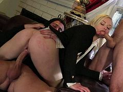 Threesome for blonde in a uniform