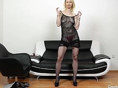 If Czech cougars attract you, feel free to inspect Nelly's horny cunt, as this blonde bitch spreads legs widely on the couch. She takes off her transparent lingerie, which gives an idea about the size of her lovely boobs. See the mature slut on high heels masturbating with a dildo.