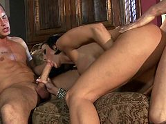 Passionate raven haired MILF Dylan Ryder with huge knockers makes her sex fantasies a reality with two horny hard dicked guys. They drill her holes the way she loves it in hot threesome.