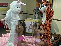 Hot blooded sexy Lupe Fuentes and Sienna Milano get down on their knees give head to guys in costumes. Watch bunny and tiger get their real hard cocks sucked in insane foursome.