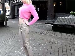 Amateur auburn chick with pigtails flashes big boobies and pees outdoors