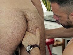 There is some naughty sex going on at the office today. This horny employee has a thing for his coworker, but things are about to get sexual at the office. Watch as he fingers his friend's hairy ass, before getting rammed up the asshole himself!