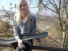 Cute Czech blonde Lenny Elleny flashing by the road