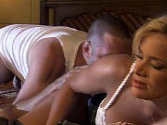Well endowed beautiful blonde Shyla Stylez in white nightie turns man on with her sex ass and does her best to make him explode. Watch them make each others sex fantasies a reality.