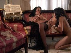 Two stunningly beautiful busty lesbian brunettes Alektra Blue and Lela Star toy fuck their tight assholes after some pussy licking. These gorgeous women do it with passion and desire.
