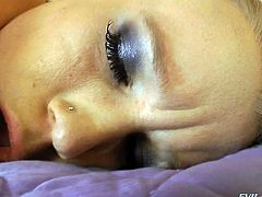 All alone blond haired nympho teases her butthole with several toys