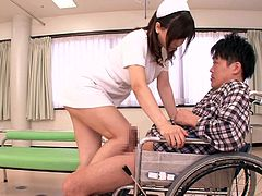 I got in an accident, but this sexy nurse was in the hospital to help me out. The lovely japanese slut got down on her knees, to suck me off. Watch as she licked me and let me tit fuck her. To my surprise, she stood up and made me eat her cunt out.