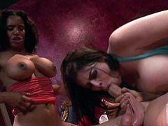 Smoking hot MILFs Daphne Rosen and Soleil both with awesome huge tits unzip lucky guys jeans to suck and ride his hard dick in FFM threesome. Big racked women team up to make him happy!
