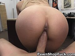 Blonde With Fake Tits Sucks And Rides In Pawn Shop
