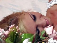 Blonde girl in a wedding dress fucks with guy