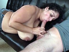 Visit official Over 40 Handjobs's HomepageHot babe with gigantic boobs feels eager to taste this dick after a proper smacking between her melons and warm hands