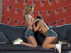 On the Fourth of July, these hot American dykes in Daisy Dukes and U. S. flag bikinis, strip naked and eat each other's pussies. The blonde makes the dark haired chick moan so loud, as she serves up a hot plate of cunnilingus.