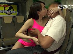 This charming lady takes her seat near an older man, to whom she seems very attracted. The slutty Japanese with beautiful shinning long hair, gets undressed and kisses him passionately. See her sitting on his lap, eager to play dirty. The details are absolutely inciting!