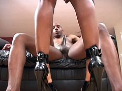 Black player fucks and facializes sexy amateur ebony on couch