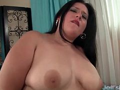 Shaved plumper cunt filled with a big dick