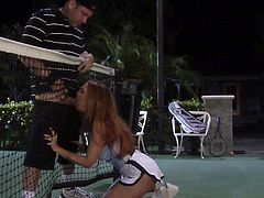 Janet Mason is a sporty girl and she plays tennis. It didnt take a lot to convince her man to fuck her up on the tennis court. A little blowjob took care of things nicely