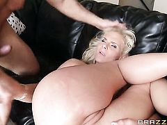 John Strong plays with sexy bottom of Phoenix Marie with giant boobs after he fucks her hard