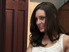 Small titty brunette Gracie Glam is a natural born slut who does her best to make her fuck buddy explode in the bathroom. She gets her twat fucked as hard as possible and takes cumshot on her tongue.