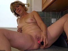 Is watching older women your thing? If so, Krystyna is right up your alley. She's in the kitchen cooking something up, but it isn't food. She's getting her pussy warmed up for some action, thanks to her pink vibrator. Her fingers get started and her vibe finishes the job. Subscribe to see much more!