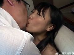 It looks more romantic than it does porn, doesn't it? The Japanese couple passionately kiss one another, as she's laid on the couch, legs spread wide, to take her man's dick inside her. He pumps her deeply, before she decides to get on and ride him all the way down, eagerly desiring his sticky load.