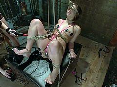 These hot lesbians are up to more kinky activities, implying using ropes and electrodes. Click to watch sexy Chanel, supervising her lovely slave, a naughty babe with small tits and peachy pussy. See them using a vibrator, to spice up the atmosphere!