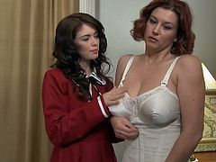 Ashlyn Rae and Sara Stone have lesbian sex in vintage lingerie