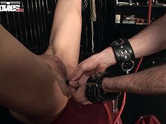 She lets him eat her out and give her an enema up her ass while she´s all tied up with her legs spread apart and he licks his way into her pussy! Finishing it off with a jizz load on her mature stretched pussy!