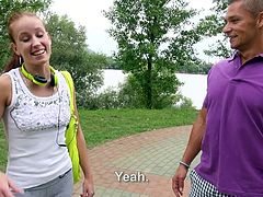Cute European chick Minnie Manga with charing smile flashes her small tits in the park for money. This sweet girl is ready to do dirty things on camera even in public place for cash.
