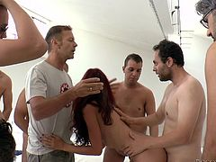 Nataly and sweet Valentina seem to feel comfortable in the presence of a gang of naked men, all horny and ready to stuff their cocks in their tight pussies. See them totally engaged in inciting deep throat blow jobs. The bitches are very careful to follow Rocco's indications. Don't miss the hardcore scenes.