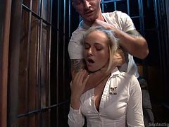 sexy blonde guard gets dominated by prisoner