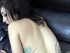 A tattooed slut is just craving for a hard dick. With such a provocative attitude and crazy body, the naughty brunette with glasses and piercings will definitely get some action tonight. See her sucking cock on knees. Get prepared for a real player!