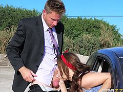 Slutty Jojo Kiss and her blonde companion, who's also the driver, are asked to pull on the right side of the road. The seductive teens don't mind sucking the guy's cock, as they are eager to lean over the car's window and taste it with frenzy.