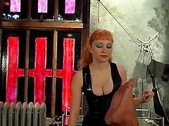 Big tits mistress Lolita playing with her bound slave