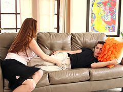 When slutty Allison returns home, she sees Brad relaxing on the couch. The busty lady is only looking for some fun, as the atmosphere has been quite dull lately. Hopefully, now she can enjoy his presence and play with his cock as long, as she wants to. Enjoy the sexy details!