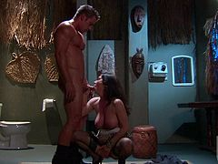 Busty milf bombshell Rayveness with black hair and blue eyes shows her love for fucking. Hot woman in black stockings gets her trimmed bush fucked good and hard by her studly lover.
