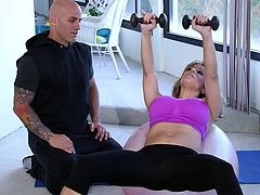 This hot mommy loves to keep fit, so she ocassionaly exercises, following her personal instructor's directions. Click to watch the horny blonde-haired milf with fantastic big boobs, seducing the guy with a crazy blowjob!