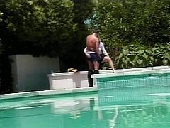 Cute cock sucking chick gets fucked and her face creamed by the pool