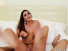 Brooklyn Chase with giant boobs and bald pussy is never enough and takes Billy Glides stiff pole in her many times used beaver again and again