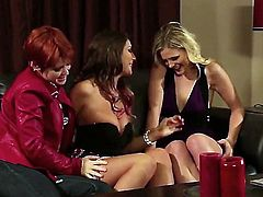 Leggy perfect boobed babe August Ames in sexy high heels gets her snatch licked short haired lesbian redhead  Lily Cade. Then she tongue fucks redheads wet hairy pussy with wild desire.