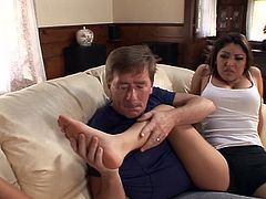 Foot fetish guy licks coeds feet