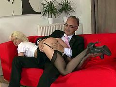 Old man and a sexy blonde girl from UK