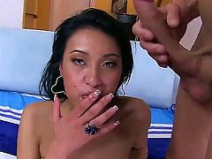 Black haired asian chick Jayden Lee displays her perky bare ass and natural boobs as she gets face fucked. Exotic girl sucks studs balls and gets her mouth drilled by his rock stiff cock.