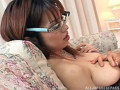 Are you dreaming of an exotic presence? Slutty Mei has no problem in getting undressed and spreading her legs widely, as a horny guy directs his camera towards her, to capture every kinky detail. See the naughty Japanese babe waiting to play with those many men in the room...